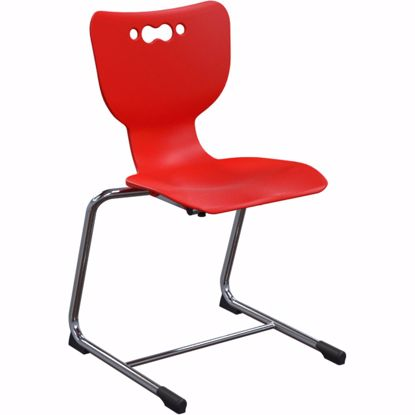 """Picture of Hierarchy Cantilever School Chair, 5 Pack, 14"""" Height, Chrome Frame, Red Shell"""