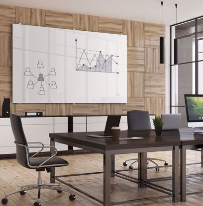 Picture of Visionary Magnetic Glass Dry Erase Whiteboard with Exo Tray System - GLOSSY 4 X 8 Addt'l sizes avail.