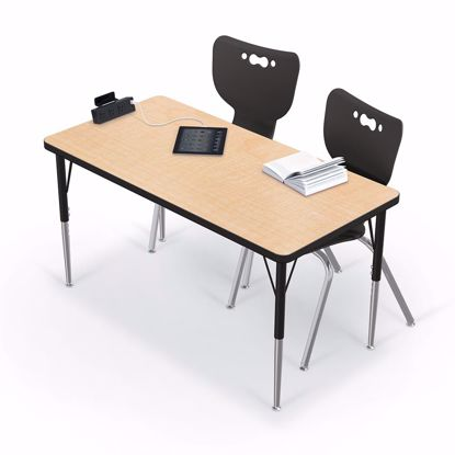 "Picture of Activity Table - 30""x48"" Rectangle - Amber Cherry Top Surface - Black Edgeband Addt'l colors and edges available"
