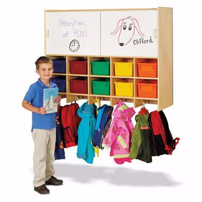 Picture of Jonti-Craft® 10 Section Wall Mount Coat Locker with Storage – with Colored Cubbie-Trays