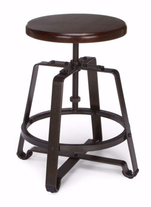 Picture of METAL STOOL-CHAIR HT WALNUT SEAT DK VEIN LEGS