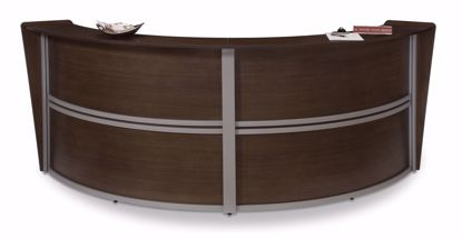 Picture of DOUBLE CURVED RECEPTION STATION - WALNUT