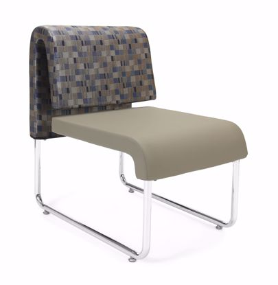Picture of UNO GEOMETRICS CHAIR BLUEJAY - PU TAUPE