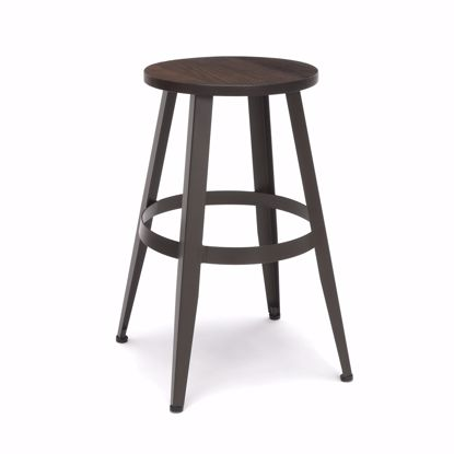 "Picture of Edge Wooden Stool 24"" High Walnut"