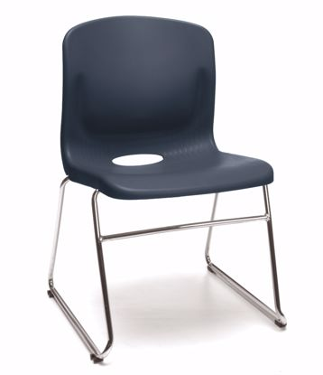 Picture of 4 PACK NAVY SLED BASE CHAIR W/LUMBAR SUPPORT