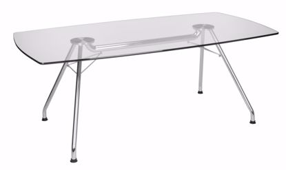 Picture of GLASS CONFERENCE TABLE 39X77 STEEL BASE