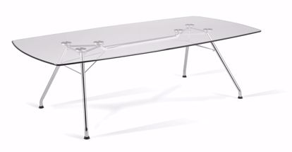 Picture of GLASS CONFERENCE TABLE 47X94 STEEL BASE