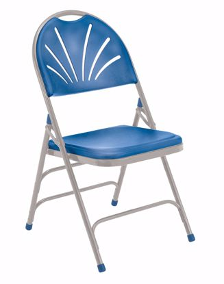 Picture of NPS® 1100 Series Deluxe Fan Back With Triple Brace Double Hinge Folding Chair, Blue (Pack of 4)