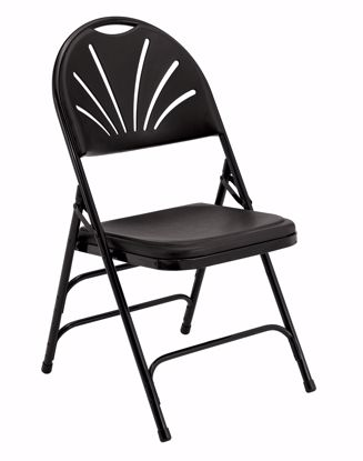 Picture of NPS® 1100 Series Deluxe Fan Back With Triple Brace Double Hinge Folding Chair, Black (Pack of 4)