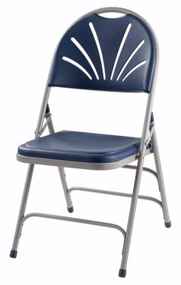 Picture of NPS® 1100 Series Deluxe Fan Back With Triple Brace Double Hinge Folding Chair, Dark Blue (Pack of 4)