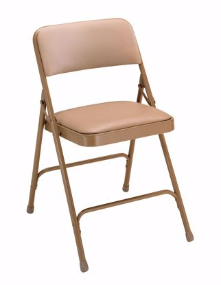 Picture of NPS® 1200 Series Premium Vinyl Upholstered Double Hinge Folding Chair, French Beige (Pack of 4)