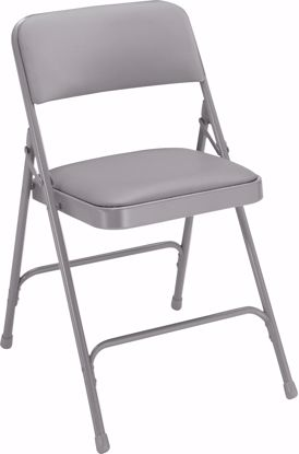 Picture of NPS® 1200 Series Premium Vinyl Upholstered Double Hinge Folding Chair, Warm Grey (Pack of 4)