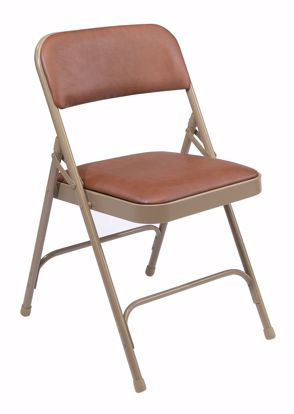 Picture of NPS® 1200 Series Premium Vinyl Upholstered Double Hinge Folding Chair, Honey Brown (Pack of 4)