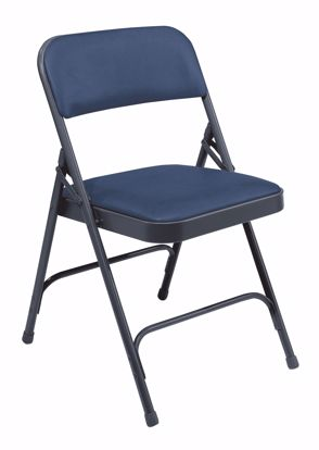 Picture of NPS® 1200 Series Premium Vinyl Upholstered Double Hinge Folding Chair, Dark Midnight Blue (Pack of 4)