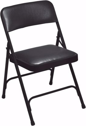 Picture of NPS® 1200 Series Premium Vinyl Upholstered Double Hinge Folding Chair, Caviar Black (Pack of 4)