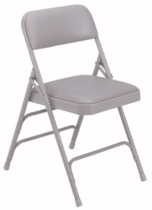 Picture of NPS® 1300 Series Premium Vinyl Upholstered Triple Brace Double Hinge Folding Chair, Warm Grey (Pack of 4)