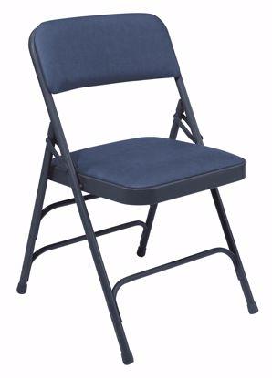 Picture of NPS® 1300 Series Premium Vinyl Upholstered Triple Brace Double Hinge Folding Chair, Dark Midnight Blue (Pack of 4)