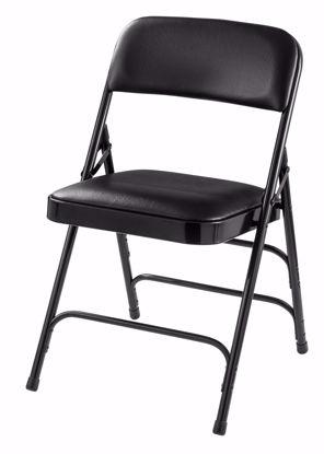 Picture of NPS® 1300 Series Premium Vinyl Upholstered Triple Brace Double Hinge Folding Chair, Black (Pack of 4)