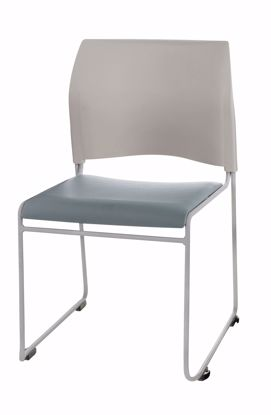 Picture of NPS® Cafetorium Plush Vinyl Stack Chair, Blue/Grey