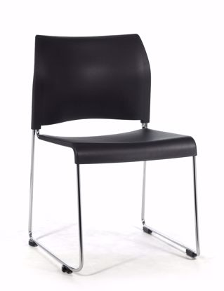 Picture of NPS® Cafetorium Plastic Stack Chair, Black