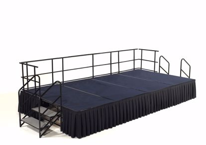 "Picture of NPS®  8' x 12' Stage Package, 24"" Height, Blue Carpet, Box Pleat Black Skirting"