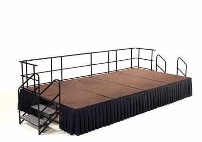 "Picture of NPS®  8' x 12' Stage Package, 24"" Height, Hardboard Floor, Box Pleat Black Skirting"