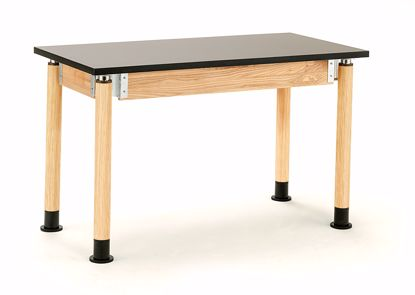 "Picture of NPS® Height Adjustable  Science Lab Table, 24"" X 48"", Chemical Resistant Top and Oak Legs"