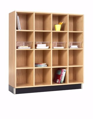 Picture of CUBBY CABINET,OAK,16 EQUAL OPENINGS