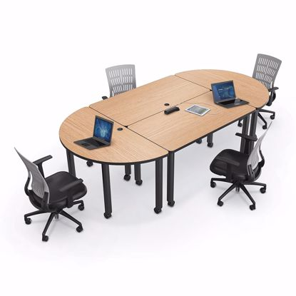 Picture of Modular Conference Table - Half Round - 60x30 - Gray Nebula Laminate - Black Edgeband