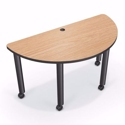 Picture of Modular Conference Table - Half Round - 60x30 - Amber Cherry Laminate - Black Edgeband