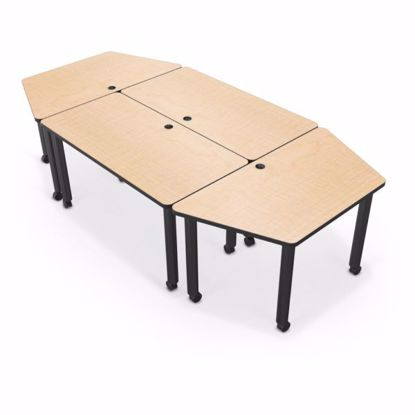 Picture of Modular Conference Table - Trapezoid - 60x30 - Gray Nebula Laminate - Black Edgeband