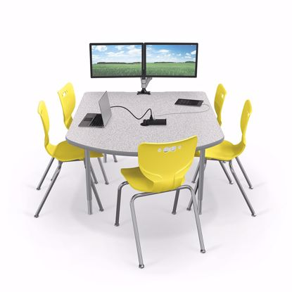 Picture of 5' MediaSpace D-Shape AV Table with Gray Nebula Surface Platinum Horseshoe Legs and Black Edgeband