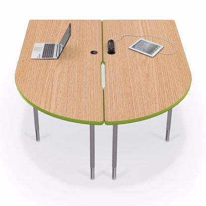 Picture of 6' MediaSpace - Split Piece D-Shape AV Table with Grey Nebula Surface - Black Legs and Black Edgeband  Addt'l colors available
