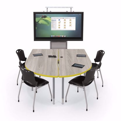 Picture of 6' MediaSpace - Split Piece D-Shape AV Table with Fusion Maple Surface - Black Legs and Black Edgeband Addt'l colors available