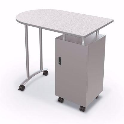 Picture of Mobile Teacher Workstation - Silver Base - Grey Nebula Top - Platinum Edge Addt'l colors avail