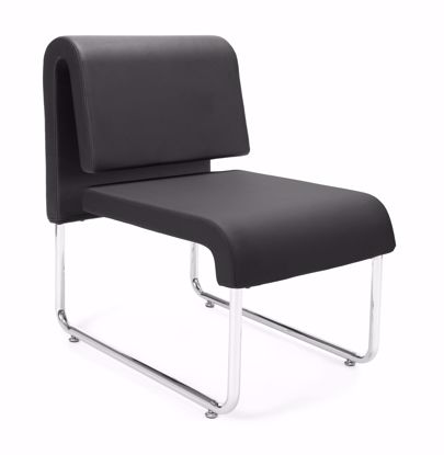 Picture of 2 PACK UNO RECEPTION CHAIR - PU BLACK