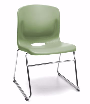 Picture of 4 PACK OLIVE SLED BASE CHAIR W/LUMBAR SUPPORT