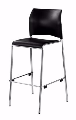 Picture of NPS® Cafetorium Bar Stool, Plush Vinyl Seat, Black