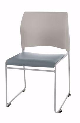 Picture of NPS® Cafetorium Plush Vinyl Stack Chair, Blue/Grey