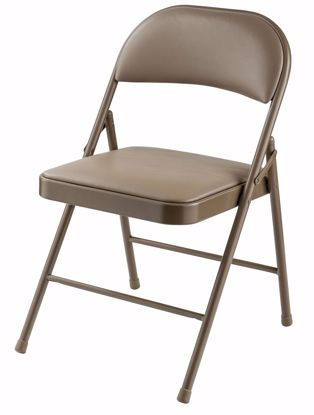 Picture of Commercialine® Vinyl Padded Steel Folding Chair, Beige (Pack of 4)