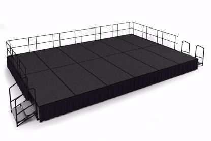 "Picture of NPS®  16' x 24' Stage Package, 24"" Height, Blue Carpet, Shirred Pleat Black Skirting"