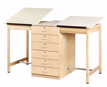 Picture of 2 STATION DRAFTING TABLE - 6 DRAWER
